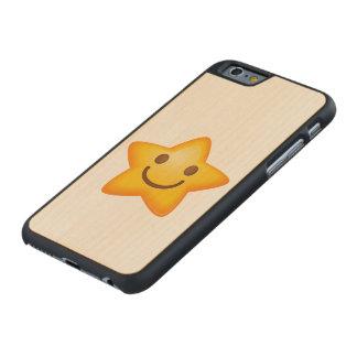 Happy Star Emoji Carved Maple iPhone 6 Case