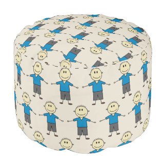Happy Stick Boy Figures All Over Pattern Fun Pouf