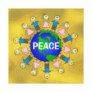 Happy Stick Figures around Planet Earth PEACE Canvas Print