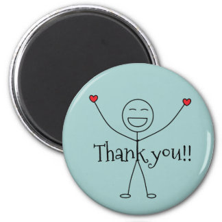 Happy Stick Man Thank you Gratitude Magnet