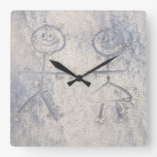 Happy stick people on the beach figures in sand square wall clock