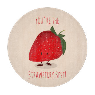 Happy Strawberry Character | Cutting Board