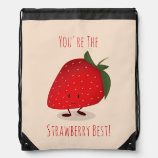Happy Strawberry Character | Drawstring Backpack