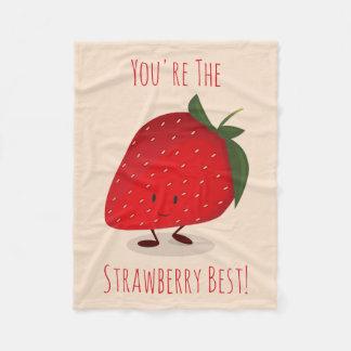 Happy Strawberry Character   Fleece Blanket