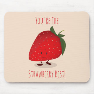 Happy Strawberry Character | Mousepad
