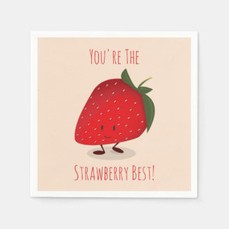 Happy Strawberry Character   Paper Napkins