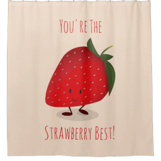 Happy Strawberry Character | Shower Curtain