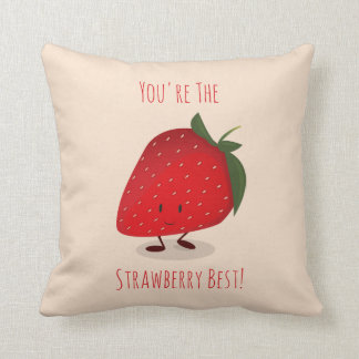 Happy Strawberry Character | Throw Pillow