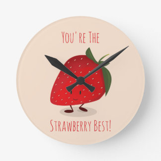 Happy Strawberry Character   Wall Clock