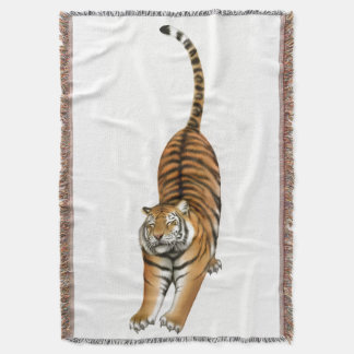 Happy Stretching Bengal Tiger Throw Blanket