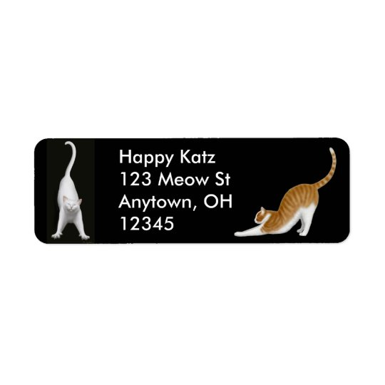 Happy Stretching Cats Label
