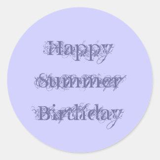Happy Summer Birthday, grunge text purple on mauve Round Sticker