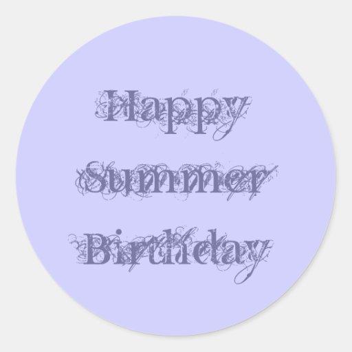 Happy Summer Birthday, grunge text purple on mauve Sticker