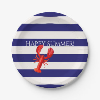 Happy summer  blue and white stripes red lobster 7 inch paper plate