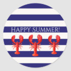 Happy Summer blue white stripes with lobsters Classic Round Sticker