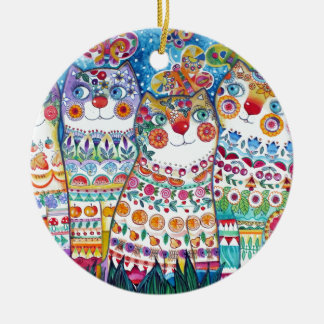 Happy summer cats ceramic ornament