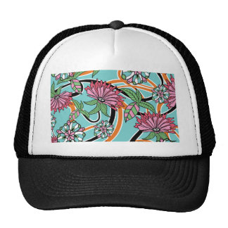 happy summer floral pattern trucker hat