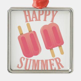 Happy Summer Silver-Colored Square Ornament