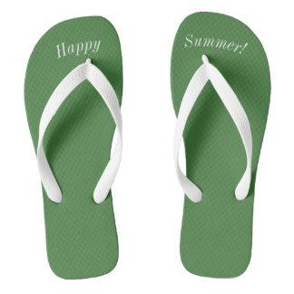 Happy Summer Solid Green W Wide White Strap Flip Flops