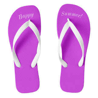 Happy Summer Solid Purple W Wide White Strap Flip Flops