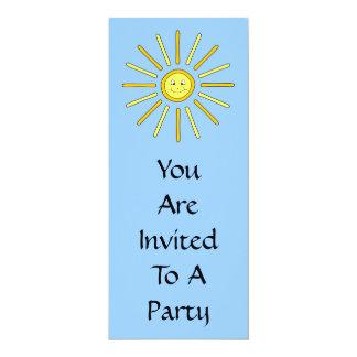 "Happy Summer Sun. Yellow and Blue. 4"" X 9.25"" Invitation Card"