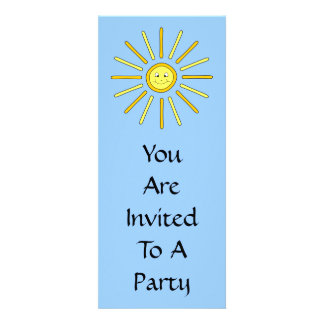 Happy Summer Sun Yellow and Blue Personalized Invite