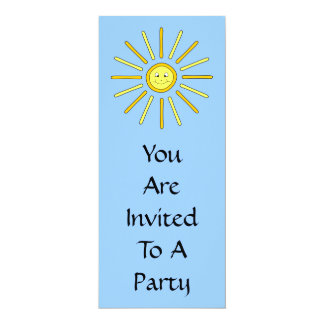 Happy Summer Sun. Yellow and Blue. 4x9.25 Paper Invitation Card