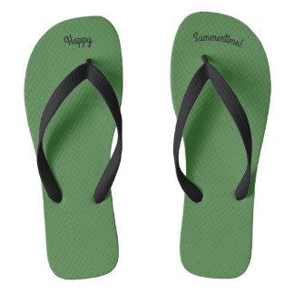 Happy Summertime Solid Green W Wide Black Strap Flip Flops