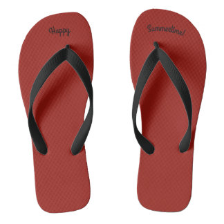 Happy Summertime Solid Red W Wide Black Strap Flip Flops