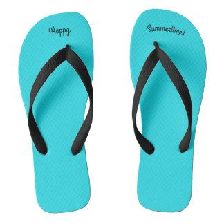 Happy Summertime Solid Sky Blue W Black Wide Strap Flip Flops
