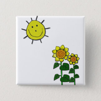 Happy Sun 2 Inch Square Button