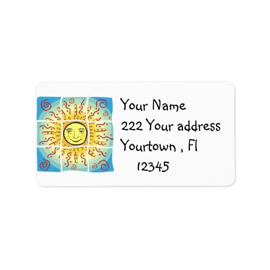 Happy Sun  Address Label