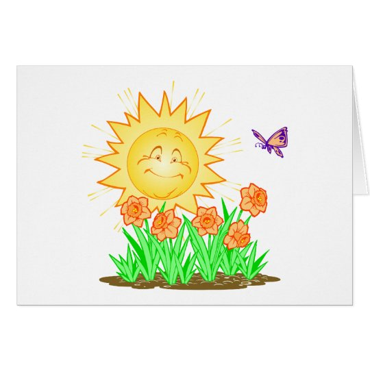 Happy Sun Daffodils and Butterfly Card