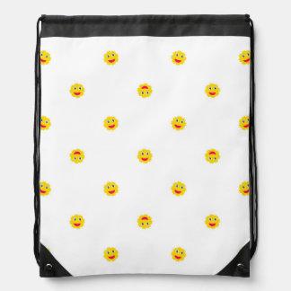 Happy Sun Motif Kids Pattern Drawstring Bag
