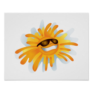Happy Sun Wearing Shades Poster