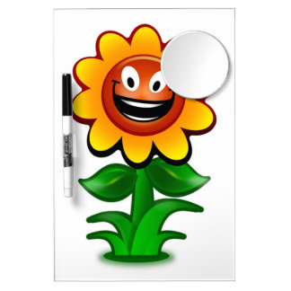 HAPPY SUNFLOWER DRY ERASE BOARD WITH MIRROR
