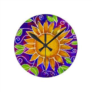 Happy Sunflower Round Clock