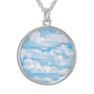 Happy Sunny Clouds Background Scenery Sterling Silver Necklace