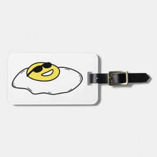 Happy Sunny Side Up Egg with Face - Sunglasses Luggage Tag