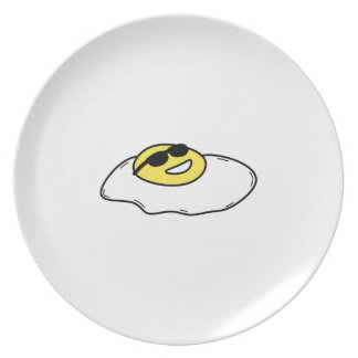 Happy Sunny Side Up Egg with Face - Sunglasses Plate