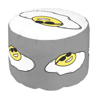 Happy Sunny Side Up Egg with Face - Sunglasses Pouf