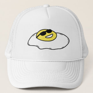 Happy Sunny Side Up Egg with Face - Sunglasses Trucker Hat