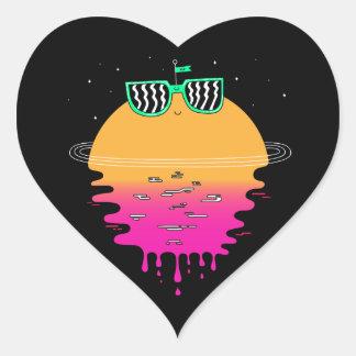 happy sunset heart sticker