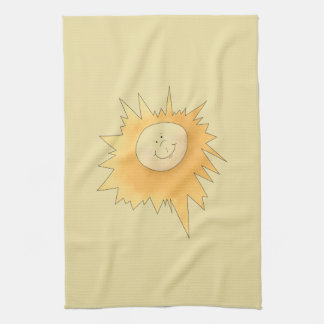 Happy Sunshine Face Yellow Kitchen Towel