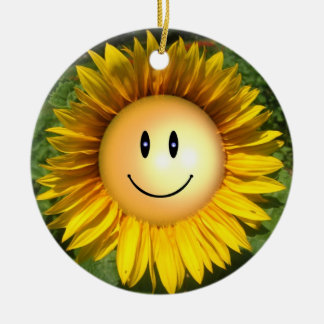 Happy Sunshine Flower Round Ceramic Ornament