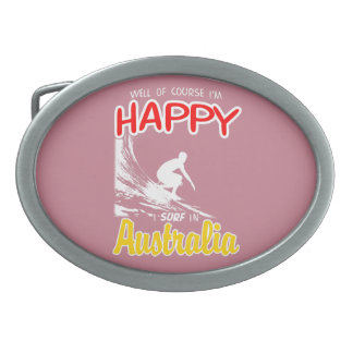 Happy Surfer AUSTRALIA (Wht) Oval Belt Buckle