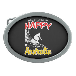 Happy Surfer AUSTRALIA (Wht) Oval Belt Buckles