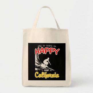 Happy Surfer CALIFORNIA (Wht) Tote Bag