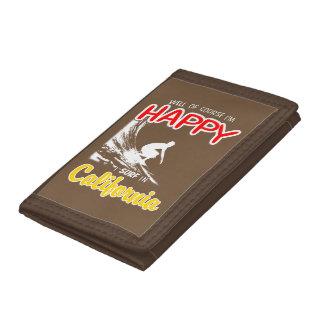 Happy Surfer CALIFORNIA (Wht) Tri-fold Wallet