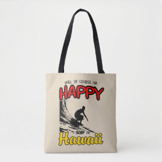 Happy Surfer HAWAII (blk) Tote Bag